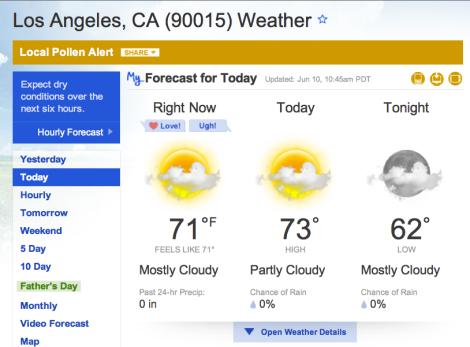 LA weather 6.10.13